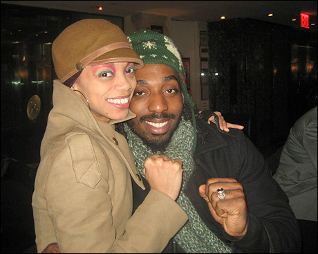 """Nicole Chantal de Weever and Talu Green say """"Yeah, Yeah!"""" in the restaurant next door after our Sunday night show."""