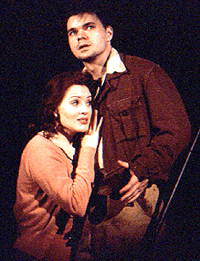 Hunter Foster with Jennifer Laura Thompson in <I>Urinetown.</I>