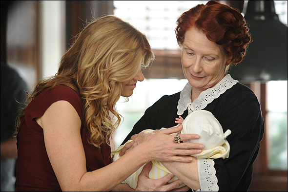"Frances Conroy, Outstanding Supporting Actress in a Mini Series or Movie Nominee as ""Moira"" in American Horror Story, shown here with fellow nominee Connie Britton."