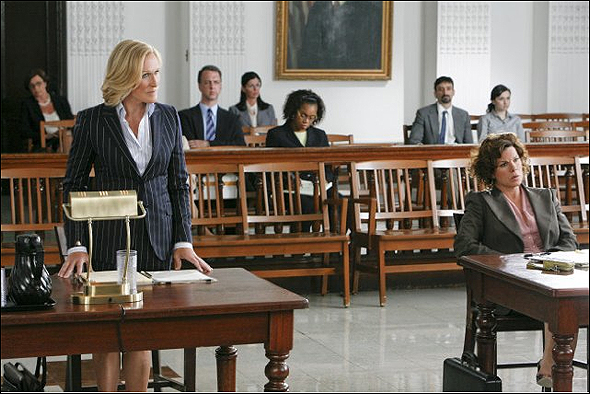 """Glenn Close, Outstanding Lead Actress in a Drama Series Nominee as """"Patty Hewes"""" in Damages, shown here with Marcia Gay Harden."""