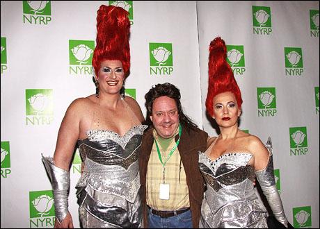 Jimmy Nederlander, Jr. (center) with producer and Nederlander executive vice president Nick Scandalios (left) and original  Priscilla Australian producer Liz Koops (right)