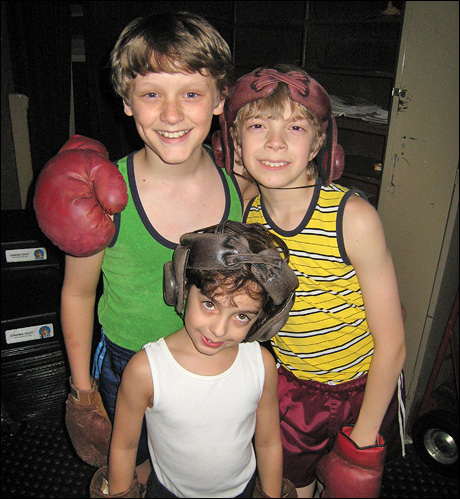 Alex, Ben and Gabe are about to go on stage for the boxing scene.  Boxing is one of my favorite scenes in the show.