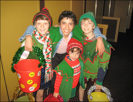 """Ready for the Top of Act II.  Here's me with Ben, Alex and Gabe getting in the holiday spirit as we are about to perform """"Merry Christmas, Maggie Thatcher."""""""