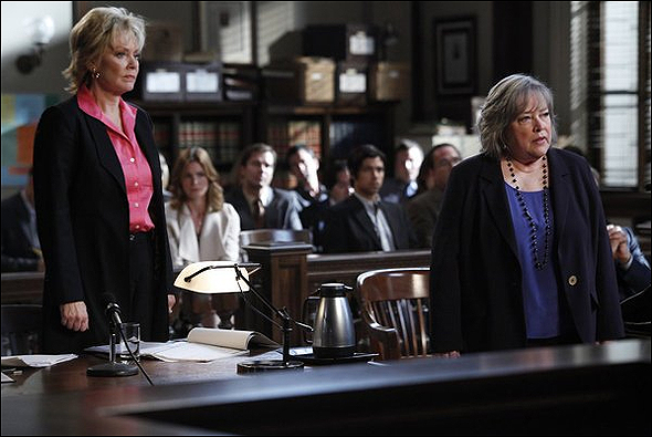 "Jean Smart, Outstanding Guest Actress in a Drama Series Nominee as ""D.A. Roseanna Remmick"" in Harry's Law, shown here with fellow nominee Kathy Bates."