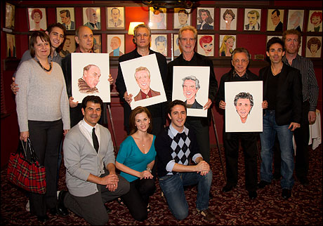 Marshall Brickman, Rick Elice, Bob Gaudio and Frankie Valli with some of the Jersey Boys cast and creative team