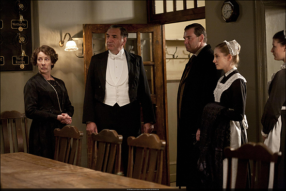 "Jim Carter, Outstanding Supporting Actor in a Drama Series Nominee as ""Mr. Carson"" in Downton Abbey, shown here with Phyllis Logan and fellow nominees Brendan Coyle and Joanne Froggatt."