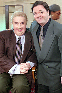 Jiminy Glick (Martin Short) and Nathan Lane.