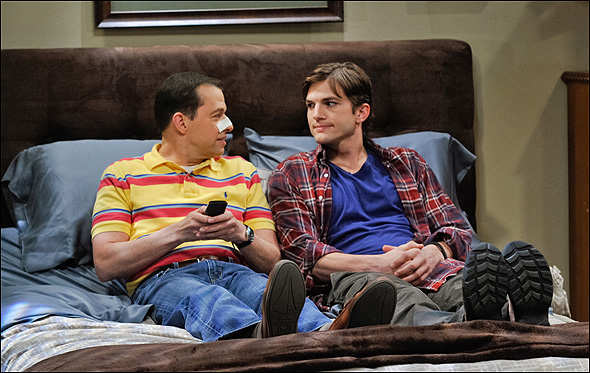 "Jon Cryer, Outstanding Lead Actor in a Comedy Series Nominee as ""Alan Harper"" in Two and a Half Men, shown here with Ashton Kutcher."