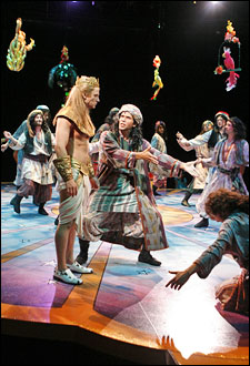 Anthony Fedorov, Brandon O'Neil and the cast of Joseph and the Amazing Technicolor Dreamcoat