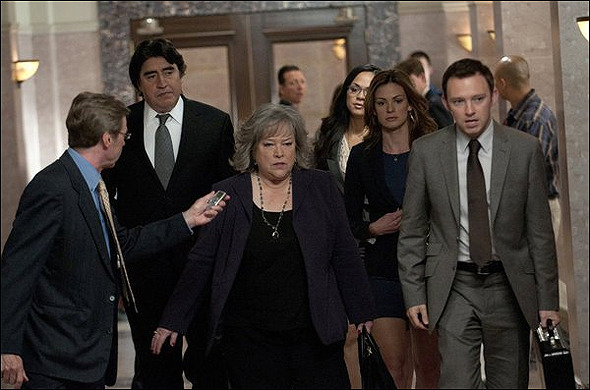 "Kathy Bates, Outstanding Lead Actress in a Drama Series Nominee as ""Harriet Korn"" in Harry's Law, shown here with the cast."