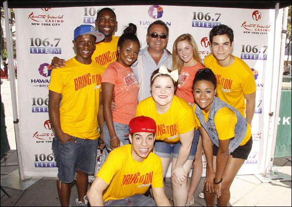 (back row) Gregory Haney, Dominique Johnson, Adrienne Warren, Bob Bronson, Taylor Louderman and Jason Gotay, (front row) Nicholas Womack, Ryann Redmond and Ariana DeBose