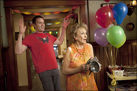 """Cloris Leachman, Outstanding Guest Actress in a Comedy Nominee, as Maw Maw in """"Raising Hope"""" with series regular Garret Dillahunt"""