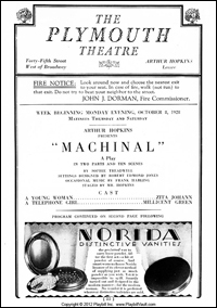 The title page from the original 1928 production of <i>Machinal</i>