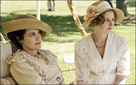 """Elizabeth McGovern, Outstanding Lead Actress in a Mini Series or Movie Nominee, as Cora, Countess of Grantham, in """"Downton Abbey"""" with co-star Laura Carmichael"""