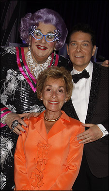 Dame Edna Everage, Judge Judy Sheindlin and Michael Feinstein