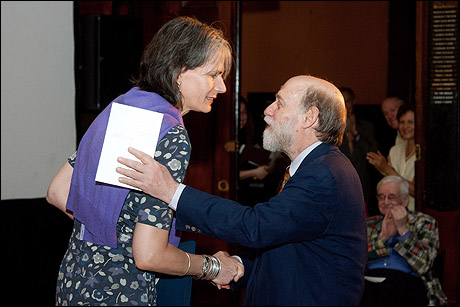 NYC Commissioner of Cultural Affairs Kate Levin congratulates David Shookhoff