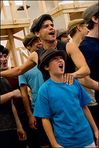 Jeremy Jordan and Vincent Agnello at the press preview for the Paper Mill staging of <i>Newsies</i>.