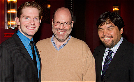 Rory O'Malley, Scott Rudin and Robert Lopez