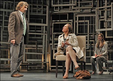 Dennis Boutsikaris, Laurie Metcalf and Aya Cash