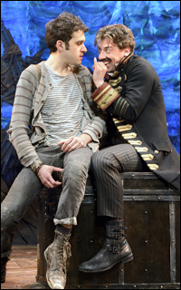 Adam Chanler-Berat as Peter and Christian Borle as Black Stache in the Broadway production of <i>Peter and the Starcatcher.</i>