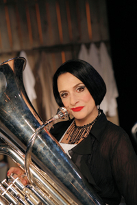 Patti LuPone and her tuba in <I>Sweeney Todd</I>.