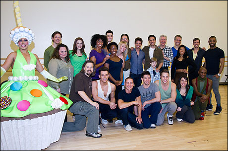 Thom Allison, as the cupcake, and cast of Priscilla Queen of the Desert