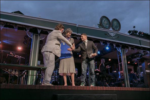 Oskar Eustis, Kate Levin and Jacob Bernstein