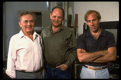 The creators of Rags. (L-R): book writer Joseph Stein, composer Charles Strouse and lyricist Stephen Schwartz, circa 1987.