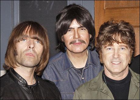 Liam Gallagher and Rain cast members Joe Bithorn and David Leon