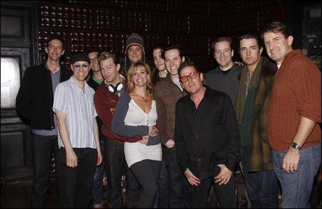 The cast of Million Dollar Quartet with Lee Rocker