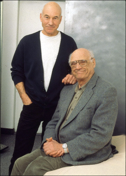 Patrick Stewart and Arthur Miller in a promotional shot