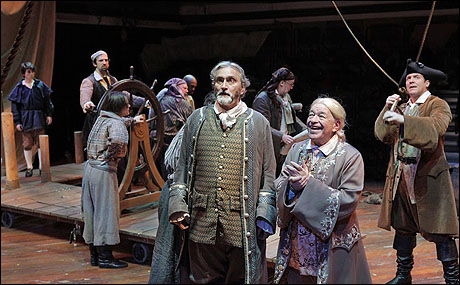 Rocco Sisto and Kenneth Tigar (foreground) with the cast of Treasure Island.