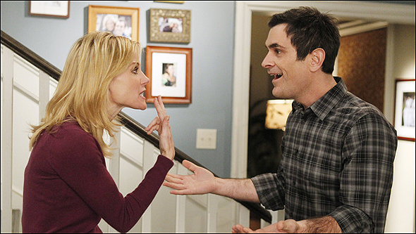 """Ty Burrell, Outstanding Supporting Actor in a Comedy Series Nominee as """"Phil Dunphy"""" in Modern Family, shown here with fellow nominee Julie Bowen."""