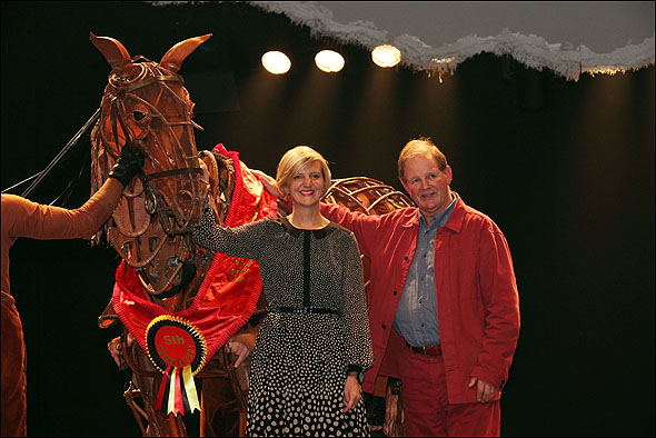 Marianne Elliott and Michael Morpurgo with Joey.