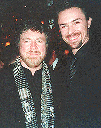 Benedick Bates (R) with father Alan Bates.