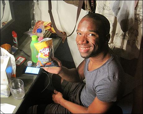Azudi Onyejekwe getting warmed up with some energy snacks