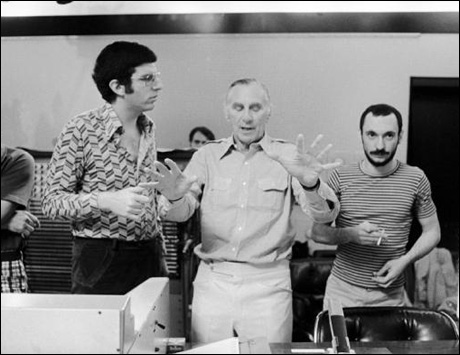 Marvin Hamlisch, Goddard Lieberson and Michael Bennett at the Chorus Line recording session