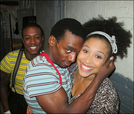 """Chris Broughton, Daniel Watts, and Allysa Shorte snapping a quick pic before """"Skrontch."""" Theatre people are so quirky!"""