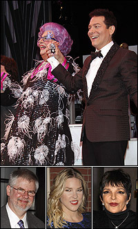 <I>All About Me</I> stars Dame Edna and Michael Feinstein at curtain call; co-writer Christopher Durang and guests Diana Krall and Liza Minnelli.