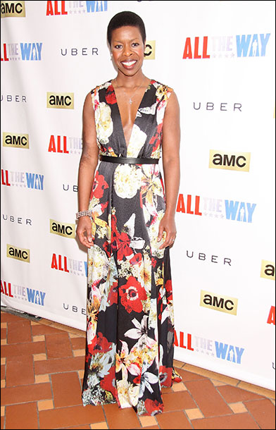 Roslyn Ruff chose this sleeveless Alice + Olivia Triss floral maxi dress to wear to the party.