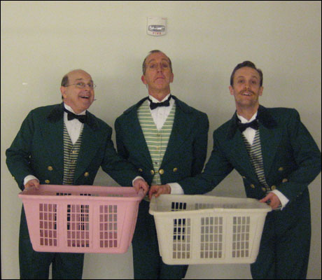 """We think you're gonna like it here!"" With laundry baskets. Bill Bateman and Roger Preston Smith are the comedic relief in our dressing room."
