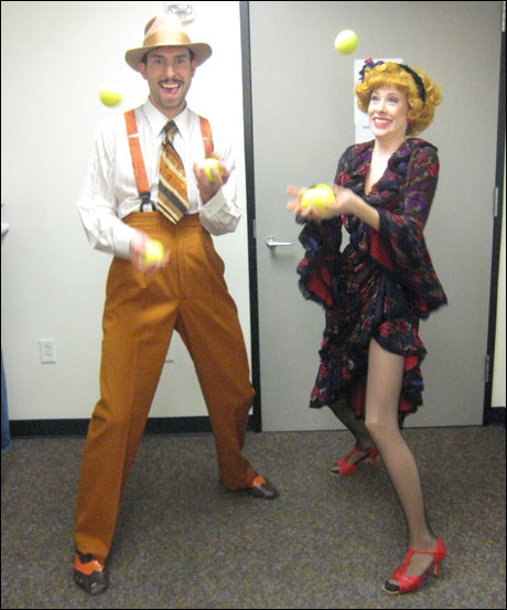 David Schoonover (Rooster) and Brandi Wooten (Lily) juggling into character!