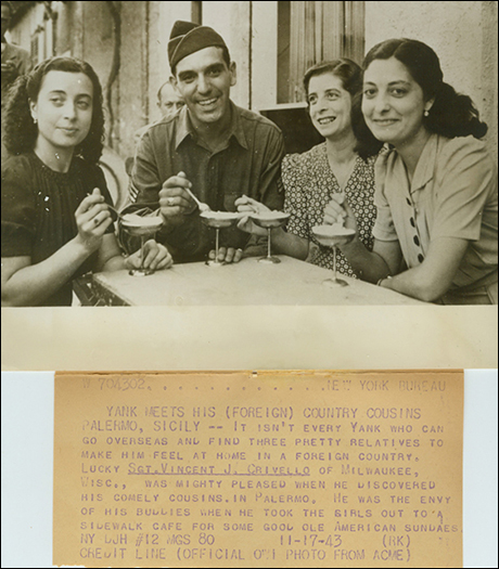 "Anthony Crivello: ""My father during WW2, at a cafe in Palermo, Sicily with three female cousins. He was an army staff sergeant, in the invasion of Northern Africa and the invasion of Sicily. He spoke 5 languages and understood eight."""