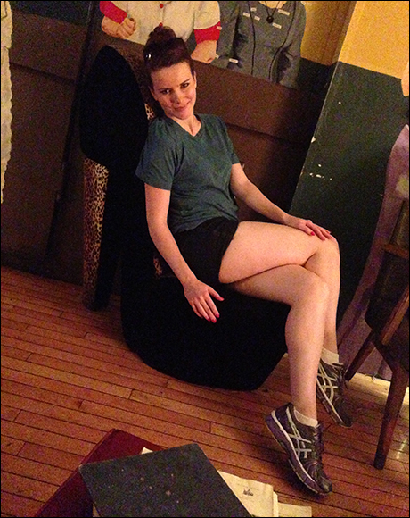 "Tonight Kristie Kerwin went on for Reno Sweeney and I caught her lounging after the show at Ambition, a local restaurant, in one of their sexy ""Heel"" chairs.  I think Kristie is still in character here."