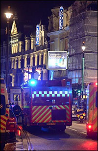 Ambulances outside the Apollo Theatre