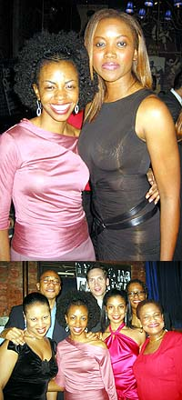 Top: Tammi Clayton (left) and Erika Alexander, Bottom: The cast and playwright Tracey Scott Wilson (back right, glasses)