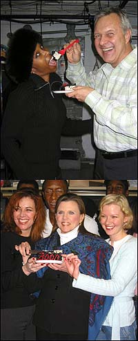 Top: Brenda Braxton and Walter Bobbie, Bottom: Debbie Gravitte, Ann Reinking, and Gretchen Mol