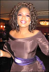 Oprah Winfrey at the opening night party for <I>The Color Purple</I>.