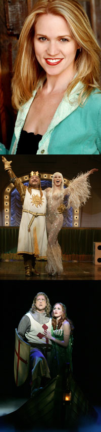 Lauren Kennedy with Simon Russell Beale (center) and Christopher Sieber (bottom) in <I>Spamalot</I>.