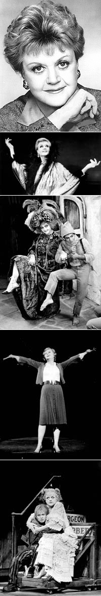 Angela Lansbury's Tony-winning roles: (from top) <I>Mame</I>, <I>Dear World</I> (with Miguel Godreau), <I>Gypsy</I> and <I>Sweeney Todd</I> (with Ken Jennings)